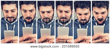 Collage Of Expressive Young Man Using A Smartphone