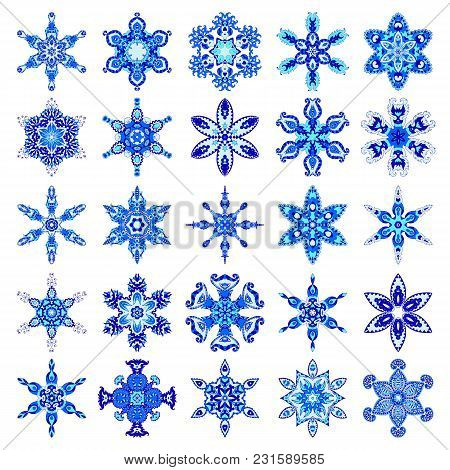 Mandalas. Round Ornaments In Gzhel Style. Blue Vector Circle Hand Drawn Background. Set Of Snowflake