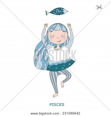 Funny Horoscope For Girls. Cute Girl In The Form Of Zodiac Sign. Outline Drawing In Cartoon Style.pi