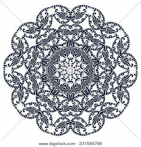 Ethnic Round Ornament. Hand Drawn Mandala. Henna Mehndi Design Element. Orient Traditional Backgroun