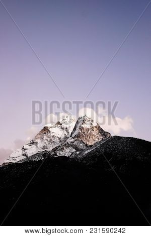 Evening View Of Ama Dablam On The Way To Everest Base Camp - Nepal. Sagarmatha National Park. Nature