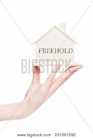 Female Hand Holding Wooden House Model With Conceptual Text. Freehold
