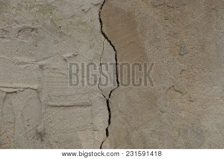 Concrete Gray Texture With A Crack On The Foundation