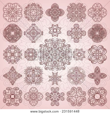 Set Of Ethnic Ornamental Floral Pattern. Henna Mehndi Design Elements. Hand Drawn Mandalas. Orient T
