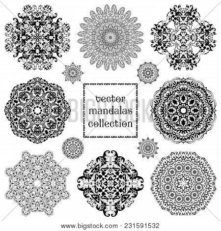 Set Of Ethnic Ornamental Floral Pattern. Henna Mehndi Design Elements. Vector Mandalas Collection. O