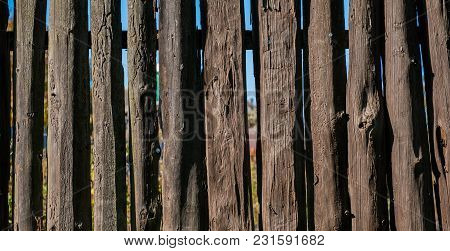 Wooden Fence In The Countryside. Summer Season. Panoramic And Web Banner Format.