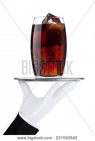 Hand With Glove Holds Tray With Cola Soda Drink With Ice On White Background