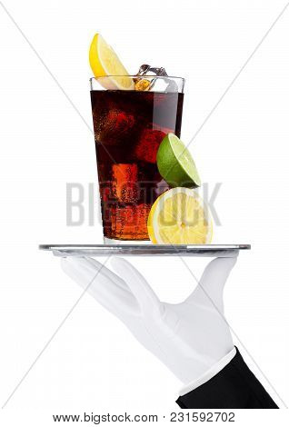 Hand With Glove Holds Tray With Cola Soda Drink With Ice And Lemon On White Background