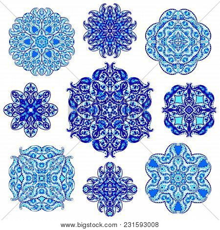 Set Of Round Ornaments In Gzhel Style. Blue Vector Circle Hand Drawn Background. Orient Traditional