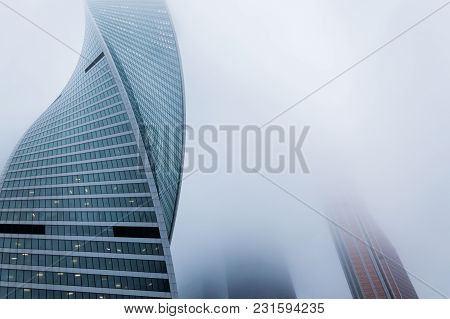 Moscow, Russia - December 29, 2017 Foggy Weather In Moscow, Capital City Of Russia.front View Of The