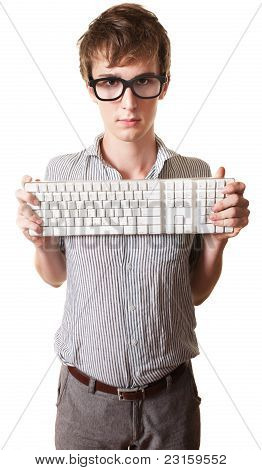 Teen Holds Computer Keyboard