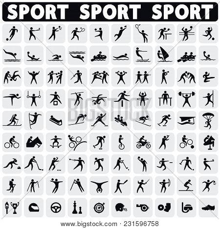 Sports Icons Set Black Figures Sportsmen. Modern Icons Sportsmen.