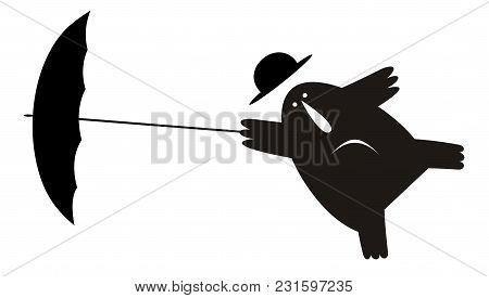 Man His Bowler Hat And Umbrella Gone By The Wind Illustration Isolated. Funny Man Wearing A Bowler H