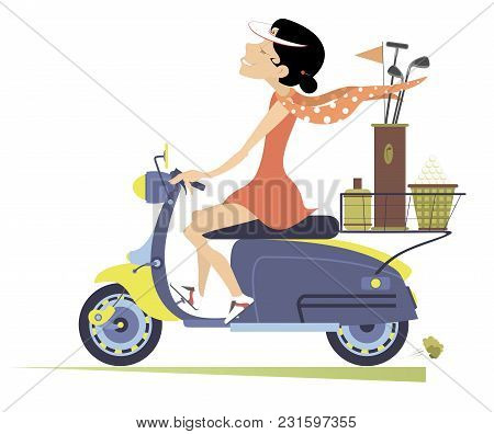Smiling Woman Rides The Scooter And Goes To Play Golf Isolated Illustration. Smiling Woman On The Sc