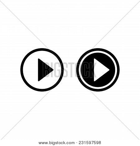 Play Vector Icon, Video Play Button Symbol. Simple Start Sign In Black. Modern Flat Vector Illustrat