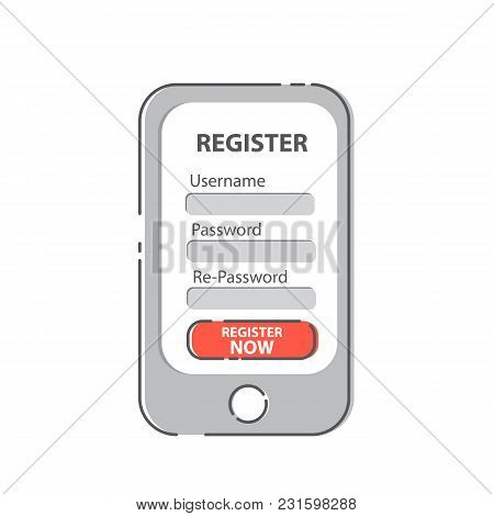 Register Now Membership Application On Mobile Smartphone, Business Concept.