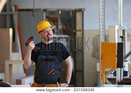 Idiot Worker Using Electric Drill Portrait. Manual Job Diy Inspiration Improvement Fix Shop Yellow H