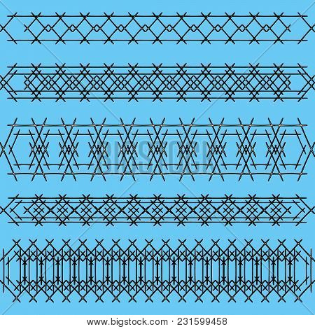 Ornaments Of Black Iron Handrails And Fences On A Blue Background. Maritime Themes Of Obstacles And