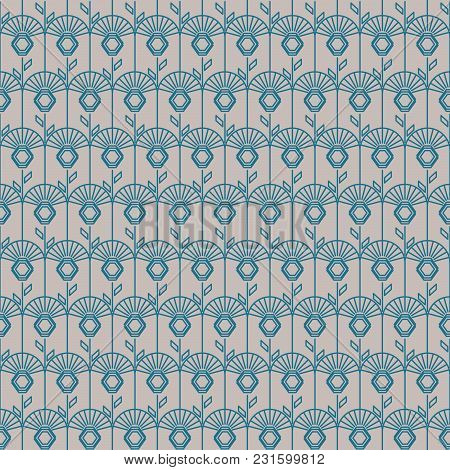 Geometric Artdeco Line Style Seamless Floral Pattern. Abstract Clover Grey And Blue Elegant Backgrou