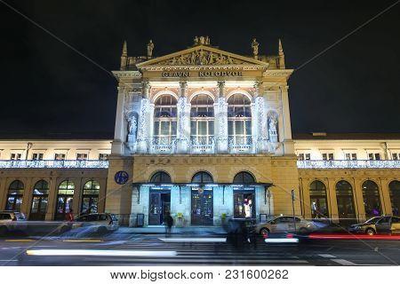 Zagreb, Croatia - December 13th, 2017: Advent Time In City Center Of Zagreb, Croatia. Illuminated Bu