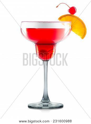 Strawberry Cosmopolitan Cocktail Or Mocktail In Margarita Glass With Slice Of Lime Isolated On White