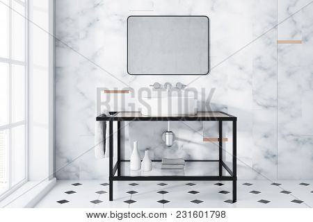 White Marble Panoramic Bathroom Interior Idea. A Tiled Black And White Floor, A Large Window And A S