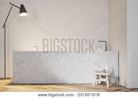 Angular Bathtub Standing In A Modern Bathroom With A Wooden Floor And White Walls. 3d Rendering Mock