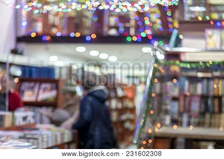Book Shop. Blurry. The Concept Of Self-education.