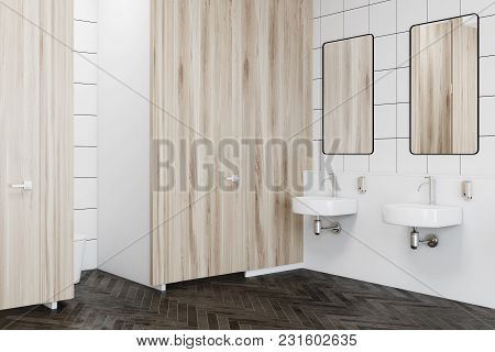 Public Restroom Interior With Wooden And White Tiled Walls, A Wooden Floor And A Row Of Sinks. A Sid