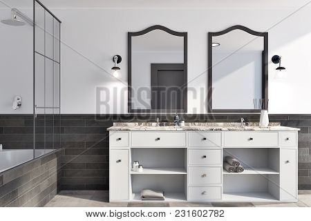 White And Brick Bathroom Interior Idea. A Tiled Floor, A Double Sink With Original Mirrors And A Bat