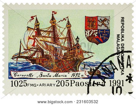 Moscow, Russia - March 15, 2018: A Stamp Printed In Madagascar Shows Caravel