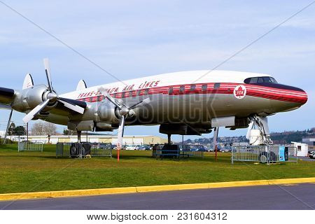 March 7, 2018 In Seattle, Wa:  Lockheed Super Constellation Which Was A 1950s Era Aircraft Taken At