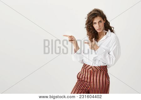 Best Copy Space For You. Portrait Of Attractive Funny Woman With Curly Hair, Wearing Trendy Outfit A