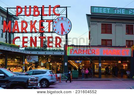 March 7, 2018 In Seattle, Wa:  Public Market Center Which Houses Vendors Selling Produce And Merchan