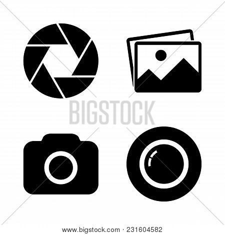 Foto Camera Icon Set. Picture, Focus, Camera, Lens Symbols. Simple Abstract Signs In Black. Modern F