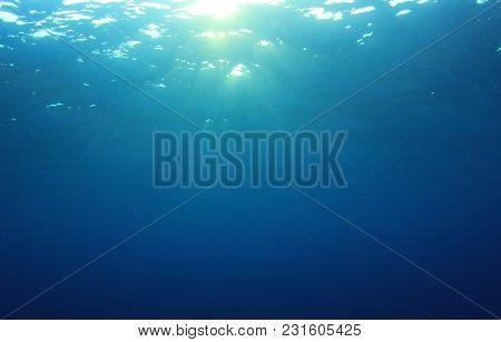 Blue ocean underwater background