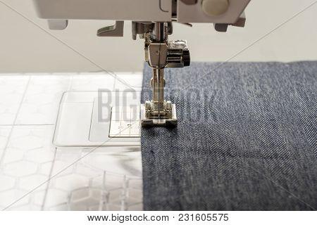 Sewing Machine Sews Denim Fabric Classical Textile