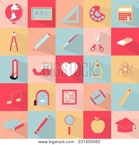 School Tool Set Icon Vector Illustration. Free Royalty Images.