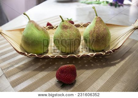 Fruits, Vegetables, Pears, Fresh Fruit. Pears In A Boat, And Strawberries