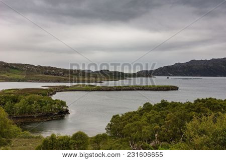 Balgy, Scotland - June 10, 2012: Silver Colored Upper Loch Torriden With Wide And Far View Under Gra