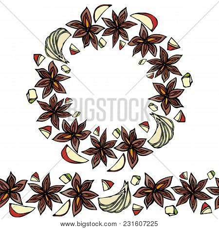 Endless Pattern Brush, Round Garland With With Anise Star Seeds. Wreath Or Circle Frame Of Seasoning