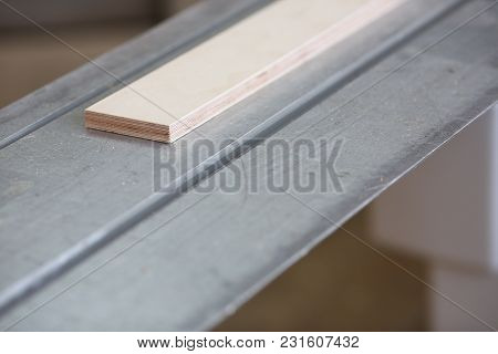Wooden Bars Lying In A Row Closeup Background. Diy Job Inspiration Improvement Fix Shop Powersaw Ben