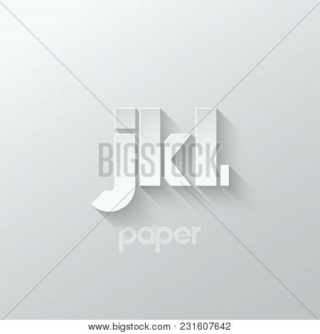 Letter J K L Logo Alphabet Icon Paper Set Background 10 Eps