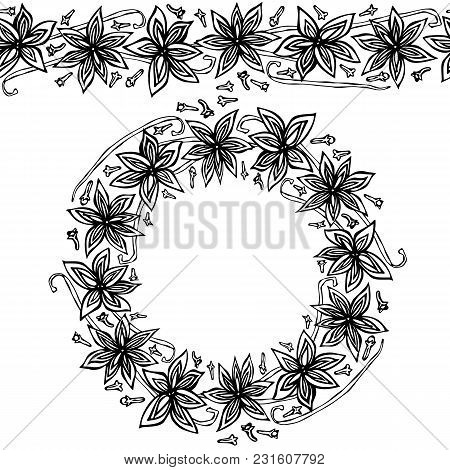 Endless Pattern Brush, Round Garland With Anise Star Seeds, Pieces Of Diced Apple, Vanilla Pod, Clov