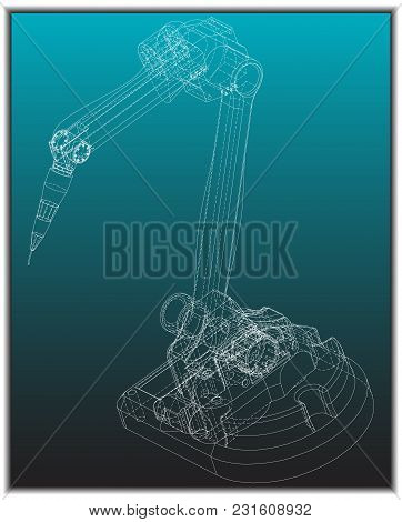 3d Model Of A Welding Robot On A Turquoise Background. Drawing