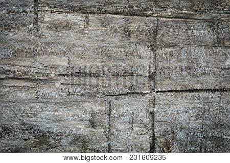 Old Weathered Timber Wall. Grunge Dark Wooden Background With Old Rough Timber.