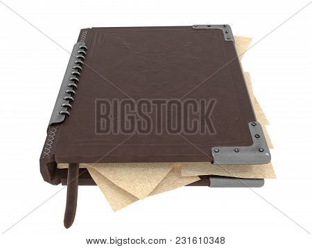 Closed Book In Leather Cover . 3d Illustration