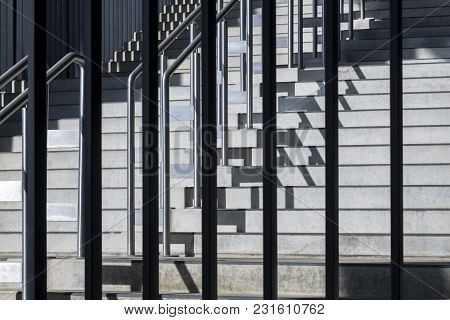 Close-up Photograph Of Abstract Architecture Fragment. Composition With Geometric Structure Of Steps