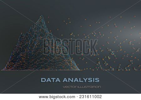 Data Analysis Concept Design With Data Structure Chart And Flying Particles.