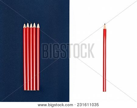 Red pencils photo mockup Set of identical red pencils are lying on blue and white background Template with space for text in flat lay